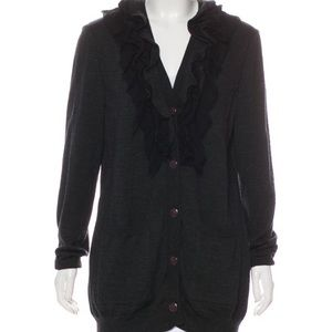 St. John Wool Ruffled Cardigan in Charcoal Gray